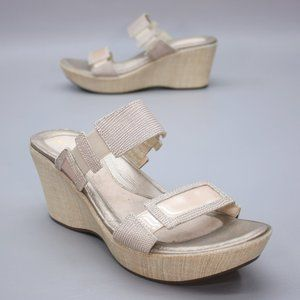 Naot Ladies 10 (41) Wedge Platform Mules Tan Taupe